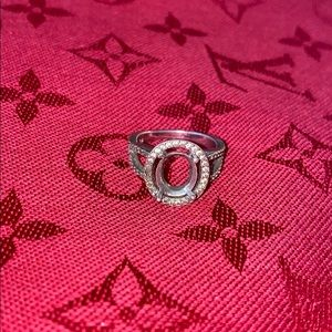 925 ring setting with tiny diamond accents